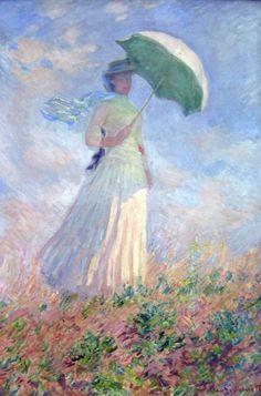 claude monet, la femme a l'ombrelle, jeune fille a l'ombrelle, art, peinture