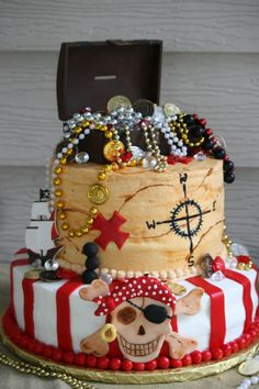 Pirate cake! Perfect for children's birthdays and parties! For an array of cake decorating equipment visit www.weddingacrylics.co.uk