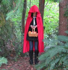 Little Red Riding Hood cape made from tablecloth