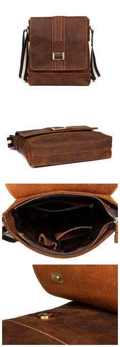 Handmade Leather messenger bag, leather shoulder bag, leather briefcase (M105) - Thumbnail 4