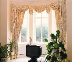 Valance portion only - Dining Room: bay-window-curtain-pictures