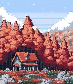 reddit: the front page of the internet Game Art, Art Background, Autumn Scenery, Art, Aesthetic Wallpapers, Pixel Art Landscape, Art Wallpaper, Aesthetic Art, Cool Pixel Art