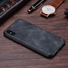 iPhone X case,  [Vintage Series] Premium PU Leather Slim Fit Ultra light Soft Touch Protective Mobile Cell Phone Case Back Cover for Apple iPhone X