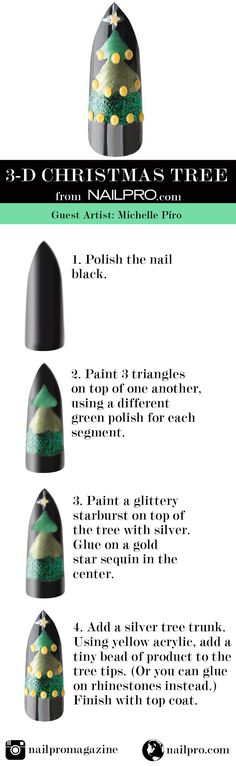 How to get 3-D ornaments on Christmas tree nails!