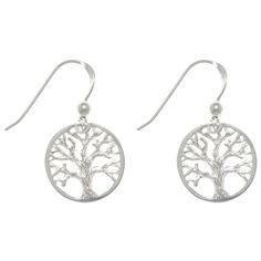 Carolina Glamour Collection Sterling Silver Round-cut Out Tree Of Life Dangle Earrings (Earrings), Women's, Size: Small