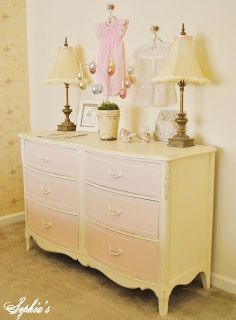 Sophia's: Little Girl's Craig's List Dresser Makeover using Annie Sloan Chalk Paint in Old White and Latex Paint on drawers (Martha Stewart's Ballet Slipper Pink)