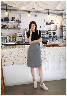Chess Player Check Pencil SkirtYou can find Korea fashion and more on our website. Korean Girl Fashion, Korean Fashion Trends, Korean Street Fashion, Korea Fashion, Black Women Fashion, Kpop Fashion, Asian Fashion, Fashion Outfits, Ulzzang Fashion Summer