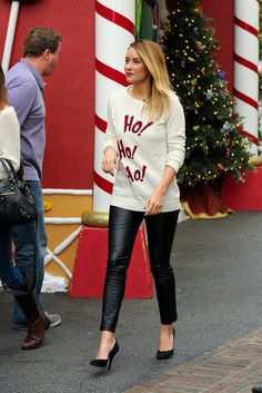 LC holiday shirt and leather leggings - for some reason I find this really fun