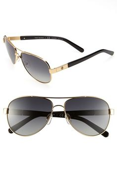 Need to try these on! Tory Burch 'Small' 57mm Polarized Metal Aviator Sunglasses available at #Nordstrom