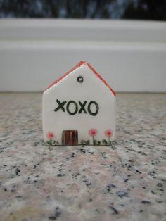 XOXO,Little Ceramic House,Love gift,Small Gift,Tiny Pottery House,Small Pottery Village,Miniature House,Offtice decor,Gift,Shelf village by TatjanaCeramics on Etsy