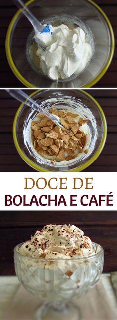 Doce de bolacha e café | Food From Portugal. Tem um jantar com amigos e quer apresentar uma sobremesa especial? Os seus amigos vão adorar este doce de bolacha e café, leve, agradável e delicioso… #doce #bolacha #receita #café