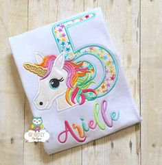 Perfect birthday shirt for little girls who love Unicorns! Numbers 1-9 available. Name can be added for no additional charge, please leave number and name in notes to seller section. Name will be done in alternating colors to match the unicorns mane, if youd prefer one color please