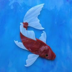 Create your own koi pond mosaic with my Precut stained glass koi, Handmade, original designs, Ready for use, just glue into place!