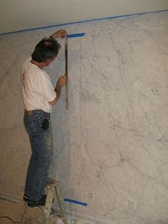 Painting book match faux white marble Marc Potocsky mjp studios ct / ny