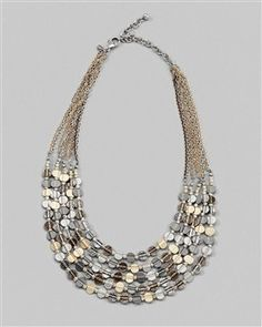 """Asha Short Necklace - Textured discs in mixed-metal finishes.  Adjusts from 19"""" to 23"""".  Acrylic, glass, and metal.  $44"""