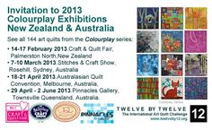 Twelve by Twelve Colourplay will be on exhibition at Palmerston North (NZ), Sydney, Melbourne and Townsville in 2013.  For more information see http://twelveby12.org