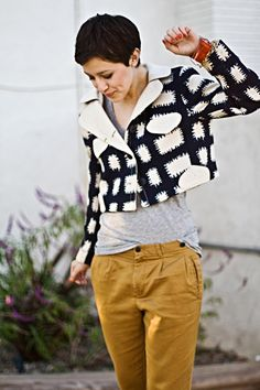 love the graphic jacket and mustard slouchy pants.