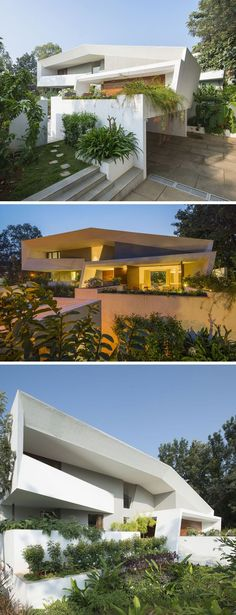 Architecture Paradigm have designed this modern angular home with three levels on the outskirts of a fast developing area of Bangalore, India.