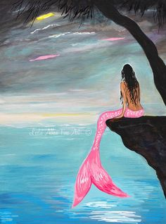 """Mermaid Art Print Mermaid Painting Print Mermaid Wall Art Ocean Moon Fantasy Art Print """"Pretty Pink Mermaid"""" Leslie Allen Fine Art – Top Of The World Mermaid Wall Art, Mermaid Drawings, Mermaid Paintings, Mermaid On Rock, Tree Paintings, Fantasy Kunst, Fantasy Art, Mythical Creatures, Sea Creatures"""