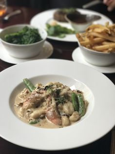 Entree at the Nob Hill Club – Crab Gnocchi with Italian pancetta, green peas, and carbonara sauce.