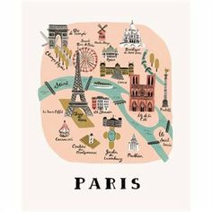 Paris Map Print by Rifle Paper Co. | Prints/Wall Art Gifts | chapters.indigo.ca