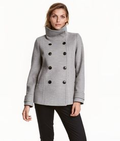Check this out! Double-breasted, fitted jacket with a high collar and decorative stitching. Tab at back and at cuffs, side pockets, and satin lining. - Visit hm.com to see more.