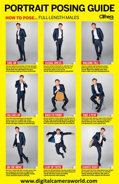 Cheat sheet: Full-length male model poses Learn how to pose male models with this high-res cheat sheet from the experts at Pose Portrait, Portrait Photography Poses, Photography Lessons, Digital Photography, Photography Awards, Iphone Photography, Wedding Photography, Product Photography, Photography Degree