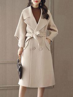 Lapel Double Breasted Belt Plain #Longline #Woolen #Coat