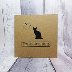 Cat thank you card Handmade thanks card Cat sitter card
