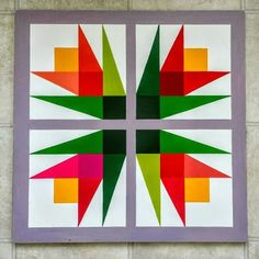 Gardiner's Gate Barn Quilts - radial design with tissue paper Barn Quilt Designs, Barn Quilt Patterns, Patchwork Patterns, Quilting Designs, Quilting Projects, Star Quilt Blocks, Star Quilts, Scrappy Quilts, Painted Barn Quilts