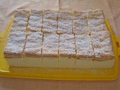 "In terms of taste, my lemon-mascarpone slices are reminiscent of the ""Kinder Paradiso"", only my taste a lot better. Light, thin lemon biscuit with fine mascarpone lemon cream. Easy Vanilla Cake Recipe, Easy Cake Recipes, Easy Desserts, Baking Recipes, Sweet Recipes, Cookie Recipes, Dessert Recipes, Dessert Diet, Quark Recipes"