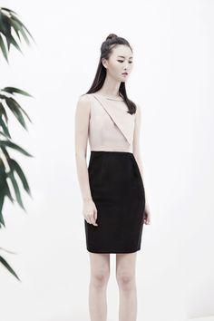 ERIKA two-tone dress - AINE SPRING SUMMER 2016 - #black #blush #dress #twotone