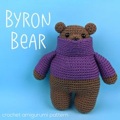Byron is an adorable bear wearing a snuggly sweater, made entirely by crochet! It's an easy pattern, with links to video tutorials teaching every skill you'll need to make it. Crochet Patterns Amigurumi, Crochet Toys, Knit Crochet, Tiny Pigs, Tiny Teddies, Giraffe Crochet, Yarn Sizes, Rudolph The Red, Red Nosed Reindeer