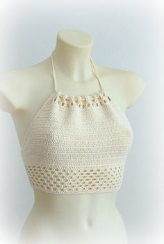 Modern and very feminine handmade summer halter top ​​made of beige elastic yarn by crohcet. The top is very sexy and nice. Adjustable ties on Bikinis Crochet, Crochet Bikini Pattern, Crochet Halter Tops, Crochet Shirt, Knit Crochet, Hippie Style, Hippie Tops, Festival Tops, Top Crop Tejido En Crochet