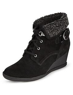 Black Stain Away™ Suede Wedge Hiker Lace Up Ankle Boots