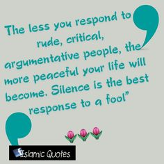 """The less you respond to rude, critical, argumentative people, the more peaceful your life will become. Silence is the best response to a fool"""""""