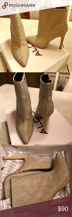 ALDO CREAM STUDDED HIGH HEEL BOOTIES HOT HOT HOT!! Purchased at ALDO in Toronto . Brand new in box never worn Aldo Shoes Ankle Boots & Booties