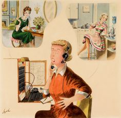 Telephone Exchange 1962 by Constantin Alajalov Painted for the cover of the Saturday Evening Post. The telephone operator is enjoying all the local gossip. Telephone Exchange, Norman Rockwell Art, Mary Johnson, Saturday Evening Post, New York Museums, Art For Art Sake, Way Of Life, Retro, Art Blog
