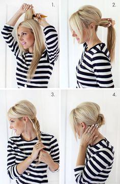 Easy + pretty! Simple Chignon Updo (click through for tutorial) #diy #hair #tutorial