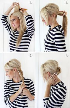 Easy + pretty! Simple Chignon Updo (click through for tutorial) #diy #hair #tutorial