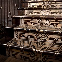 A detail from the intricate Ted Baker staircase --which used Amuneal's proprietary technique to in-lay brass into fabricated steel.  The staircase--designed by Mackenzie Keck--is located in Ted Baker's flagship store in New York.