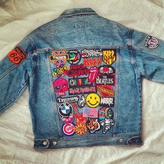 Reworked Vintage Jean Jacket with Patches / Patched Vintage Jean Jacket by KodChaPhorn from Bangkok on Etsy