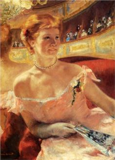 1879 Woman with a Pearl Necklace - Mary Cassatt huile sur toile Dimensions: 58.4 x 80.9 cm Gallery: Private Collection