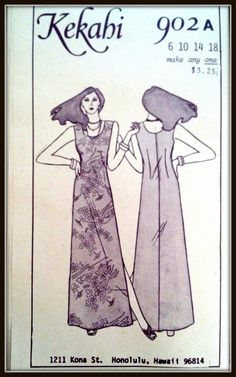 Kekahi  902A Hawaiian Long Dress  Size 6101418  by ThePatternShopp, $14.00