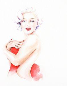 Marilyn+Monroe+in+Red+Dress+painting+giclee+by+christydekoning,+$5.00