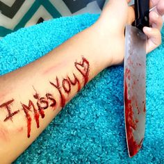 Do you miss me like I miss you? (Makeup by Me). Please do not get offended I am in no way promoting self harm, only my artistic ability. It's just makeup! Hope you guys like it either way. #halloween #gore #bennye #fxmakeup #fx #sfxmakeup #sfx #blood #bloody #wound #love #obsessed #creative #art #engraving #phsycho #cut #blade #extraordinary #mua #makeupartist #motd #beautyblogger #beauty #follow #followme #like4like #instagood #heartbreak #heart