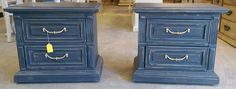 """Here is another set of nightstand! They are painted a darker gray color. What do you think?  The dimensions are 27"""" L, 17"""" W, 23"""" H. SOLD!! for $275"""