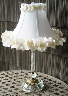Upcycled vintage glass lamp with silk flower and pearl embellished lamp shade