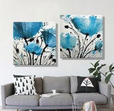 Oil Painting Canvas Abstract Blue Flower Decoration Home Decor On Canvas Modern Wall Picture For Living Abstract Canvas Wall Art, Painting Canvas, Blue Painting, Ink Painting, Acrylic Painting Flowers, Art Oil, Blue Flowers, Flower Decoration, Modern Wall