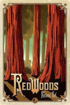 Redwoods National Park, CA National Park Posters, National Parks, Party Vintage, Vintage Art, Voyage Usa, Park Art, Parc National, Parcs, Vintage Travel Posters